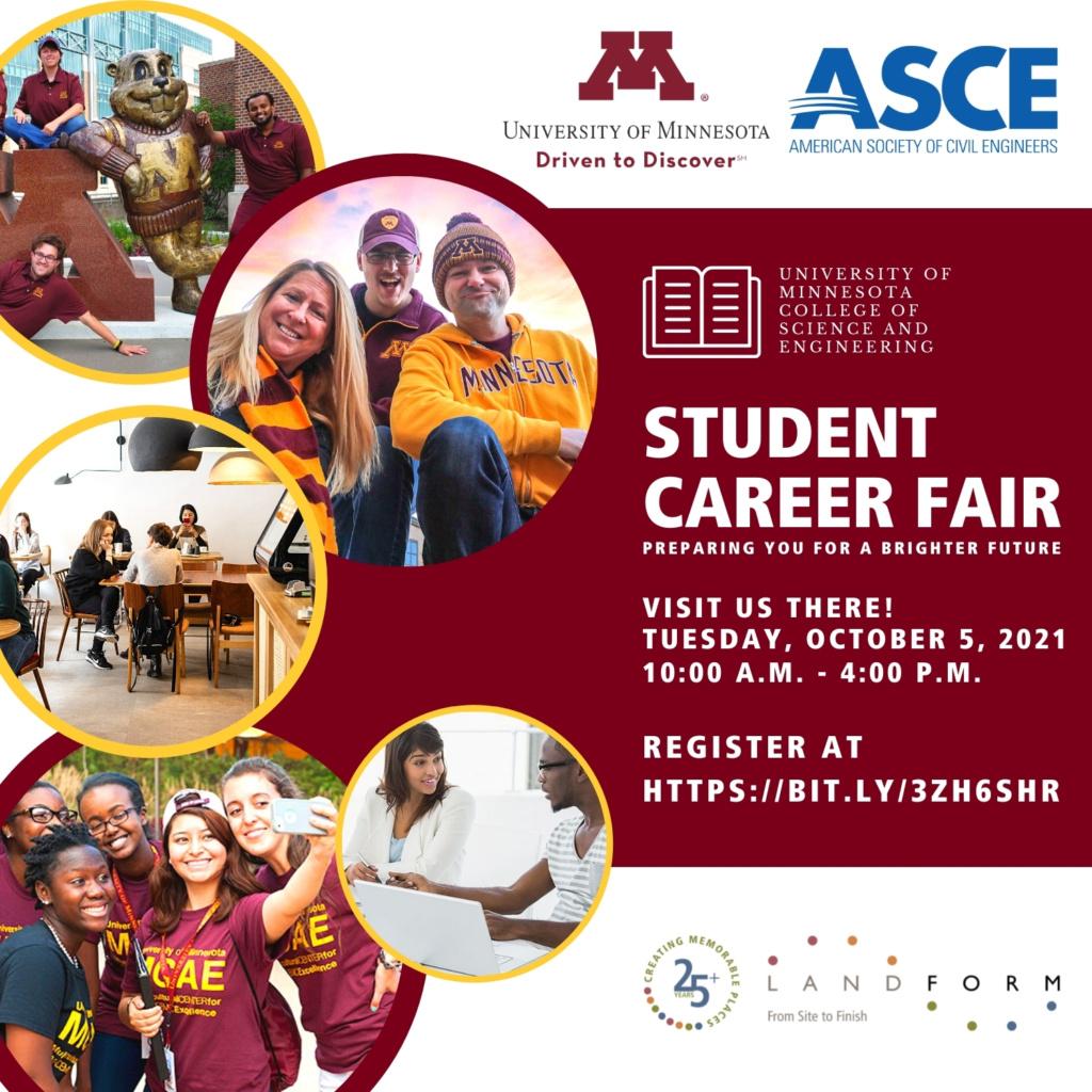 American Society Civil Engineers University of Minnesota Career Job Fair Minneapolis Minnesota Landform